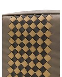 Bolso mensajero de cuero estampado marrón de Bottega Veneta