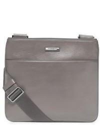 Bolso mensajero de cuero gris