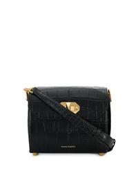 Bolso mensajero de cuero negro de Alexander McQueen