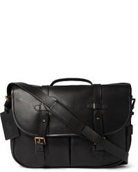 Bolso mensajero de cuero negro de Polo Ralph Lauren
