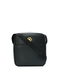 Bolso mensajero de cuero negro de Versace