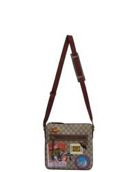 Bolso mensajero de lona bordado marrón claro de Gucci