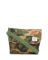 Bolso mensajero de lona de camuflaje verde oliva de Herschel Supply Co.