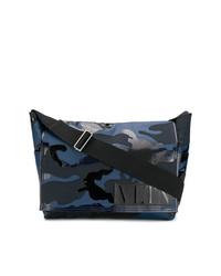 Bolso mensajero de lona estampado azul marino de Valentino