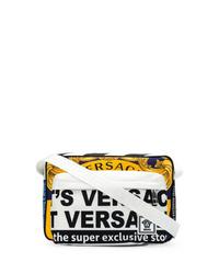 Bolso mensajero de lona estampado en multicolor de Versace