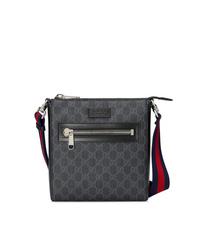 Bolso mensajero de lona estampado negro de Gucci