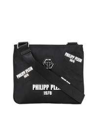 Bolso mensajero de lona estampado negro de Philipp Plein