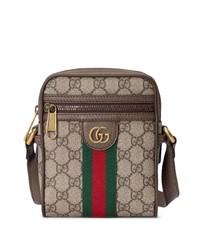 Bolso mensajero de lona marrón claro de Gucci