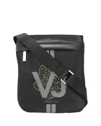 Bolso mensajero de lona negro de Versace Jeans