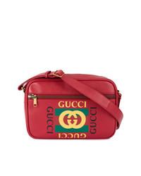 Bolso mensajero estampado rojo de Gucci