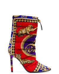 Botas a media pierna de ante en multicolor de Versace