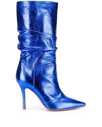 Botas a media pierna de cuero azules de Amina Muaddi