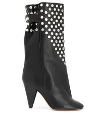 Botas a media pierna de cuero con tachuelas negras de Isabel Marant