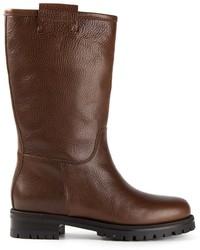 Botas a media pierna de cuero en marrón oscuro de Dolce & Gabbana