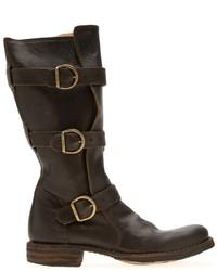 Botas a media pierna de cuero en marrón oscuro de Fiorentini+Baker