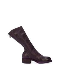 Botas a media pierna de cuero en marrón oscuro de Guidi