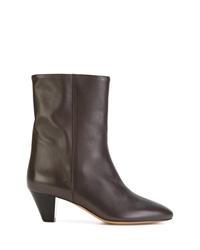 Botas a media pierna de cuero en marrón oscuro de Isabel Marant