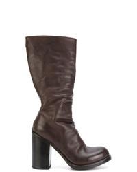 Botas a media pierna de cuero en marrón oscuro de Officine Creative