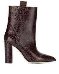Botas a media pierna de cuero en marrón oscuro de Paris Texas