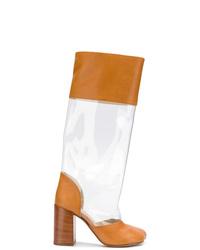 Botas a media pierna de cuero en tabaco de MM6 MAISON MARGIELA