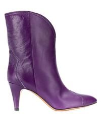 Botas a media pierna de cuero en violeta de Isabel Marant
