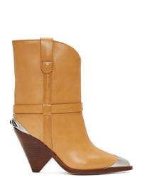 Botas a media pierna de cuero marrón claro de Isabel Marant