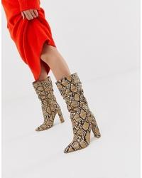 Botas a media pierna de cuero marrón claro de SIMMI Shoes