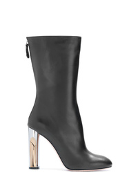 Botas a media pierna de cuero negras de Alexander McQueen