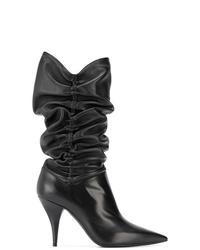 Botas a media pierna de cuero negras de Casadei