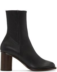 Botas a media pierna de cuero negras de Helmut Lang