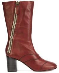 Botas a media pierna de cuero rojas