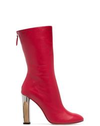 Botas a media pierna de cuero rojas de Alexander McQueen