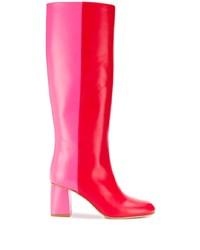 Botas a media pierna de cuero rojas de RED Valentino