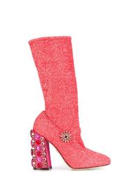 Botas a media pierna de cuero rosa de Dolce & Gabbana