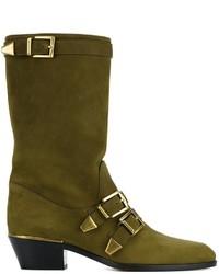 Botas a media pierna de cuero verde oliva de Chloé