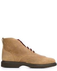 Botas brogue de ante marrón claro