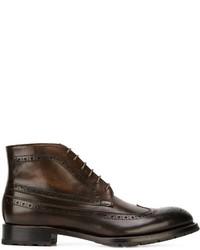 Botas brogue de cuero en marrón oscuro de Canali