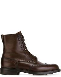 Botas brogue de cuero en marrón oscuro de Crockett Jones