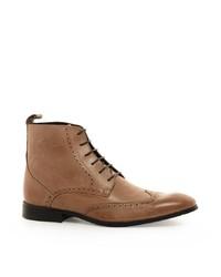 Botas brogue de cuero marrón claro de Asos