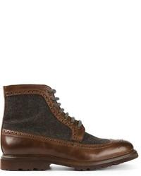 Botas brogue de cuero marrónes de Brunello Cucinelli