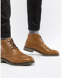 Botas brogue de cuero marrónes de New Look