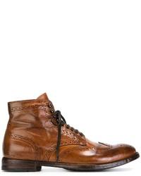 Botas brogue de cuero marrónes de Officine Creative