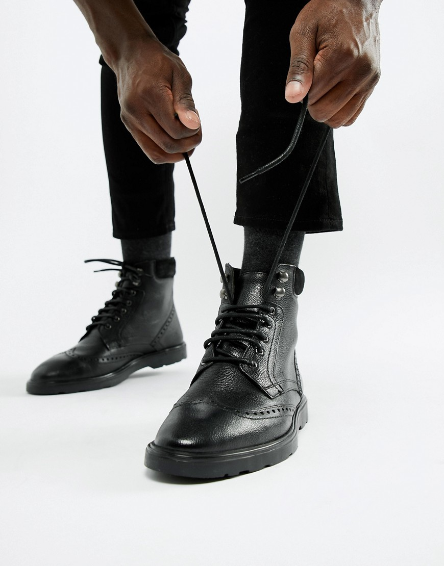 Botas brogue de cuero negras de ASOS DESIGN
