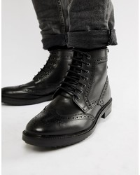 Botas brogue de cuero negras de Base London