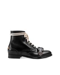 Botas brogue de cuero negras de Gucci