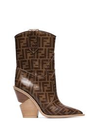 Botas camperas de cuero marrónes de Fendi