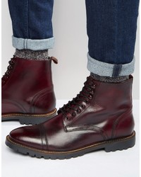 Botas casual de cuero burdeos de Base London