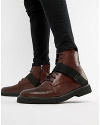 Botas casual de cuero en marrón oscuro de ASOS DESIGN