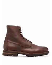 Botas casual de cuero en marrón oscuro de Brunello Cucinelli