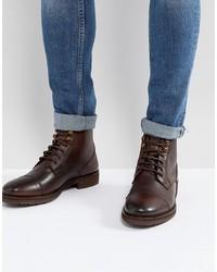 Botas casual de cuero en marrón oscuro de Burton Menswear